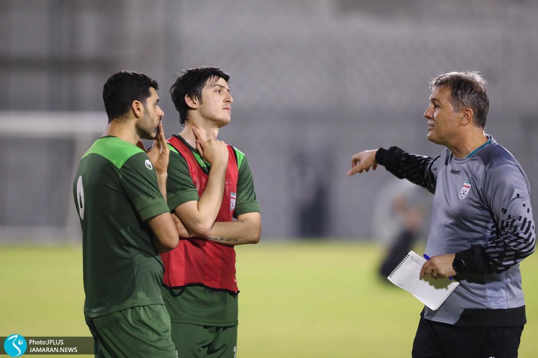 تمرین تیم ملی فوتبال ایران در بحرین/ طارمی و آزمون و اسکوچیچ