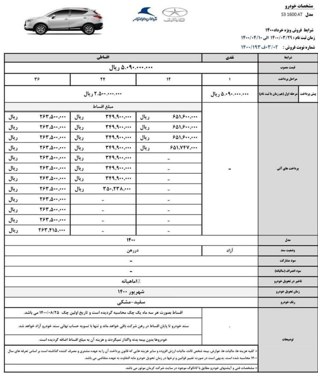طرح جدید پیشفروش خودرو جک ای 3 ویژه خرداد و تیر 1400