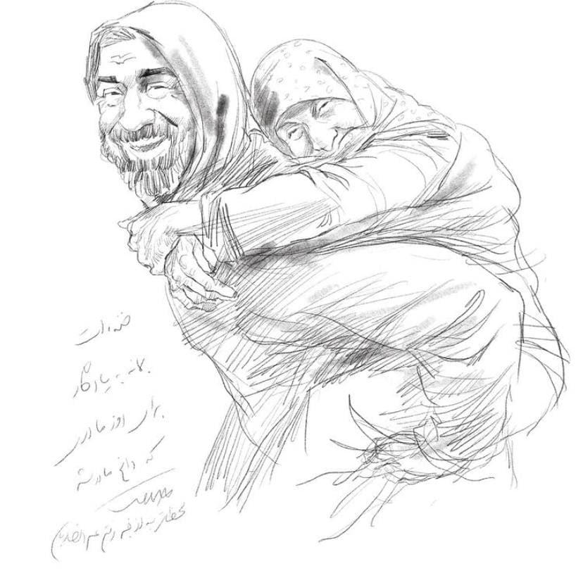 کاریکاتور احساسی برای درگذشت علی انصاریان