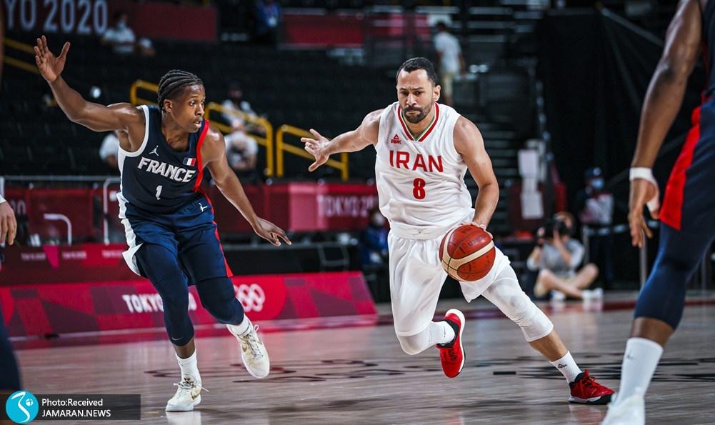 سعید داورپناه بسکتبال ایران و فرانسه در المپیک