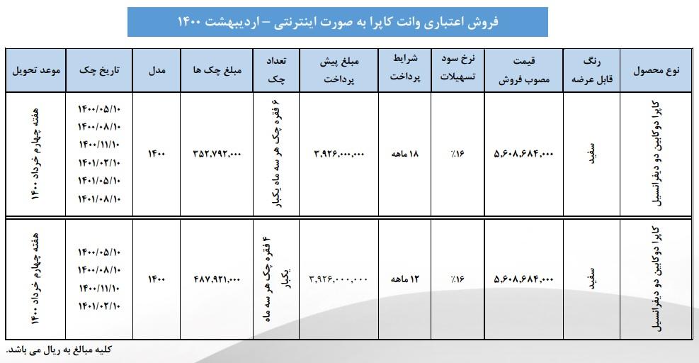 فروش اقساطی وانت کاپرا از امروز 4 اردیبهشت