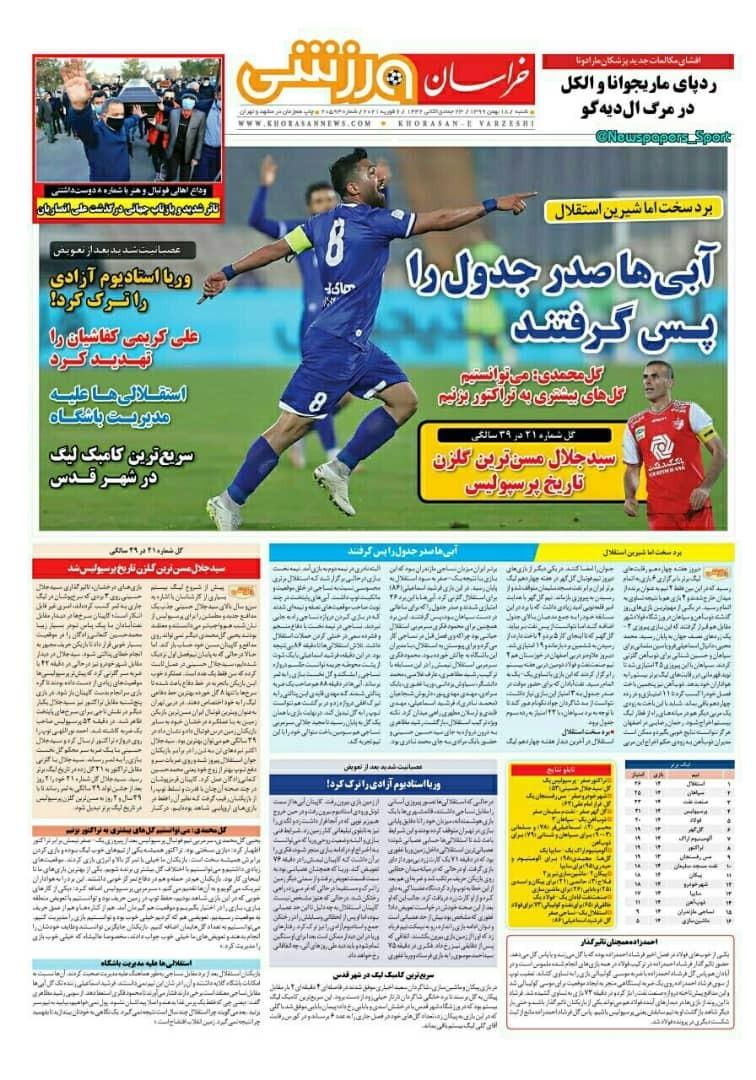 روزنامههای ورزشی ۱۸ بهمن؛