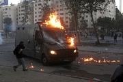 درگیری شدید معترضان با پلیس شیلی+عکس