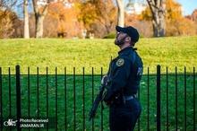 مظنونی که توسط نیروهای امنیتی در بیرون از کاخ سفید از پای انداخته شد