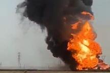 خط لوله نفت امیدیه همچنان می سوزد
