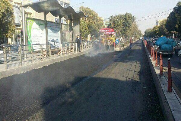 اجرای آسفالت اسامای (سنگدانه ای) در مسیر اتوبوسهای تندرو تبریز
