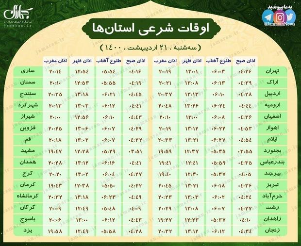 اوقات شرعی استان ها؛ سه شنبه 21 اردیبهشت 1400