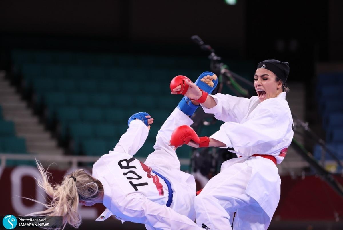 کاراته المپیک 2020 توکیو| سارا بهمنیار از صعود به نیمهنهایی بازماند+ عکس و ویدیو