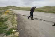 رانش جاده در محور تکاب - شاهیندژ خطر ساز شد