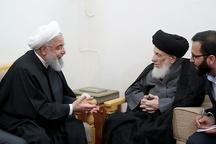 آیتالله العظمی حکیم در دیدار با رئیسجمهور: باید با تقویت وحدت و انسجام در برابر نقشههای دشمنان ایستادگی کنیم