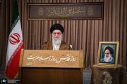 عبارت نصب شده در حسینیه امام خمینی(س) در سخنرانی امروز رهبر انقلاب چه بود؟ + عکس