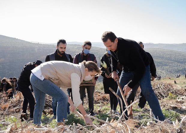 مشارکت بشار و اسماء اسد در درختکاری جنگل های سوخته+تصاویر