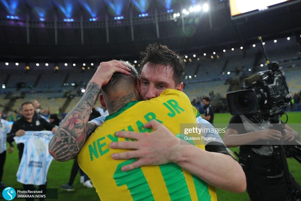 نیمار خطاب به مسی: فوتبال منتظر قهرمانی تو بود+ عکس و ویدیو