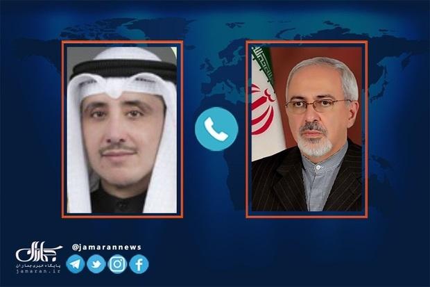 گفت و گو ظریف با وزیر خارجه کویت/ هشدار در خصوص عواقب ماجراجویی احتمالی آمریکا