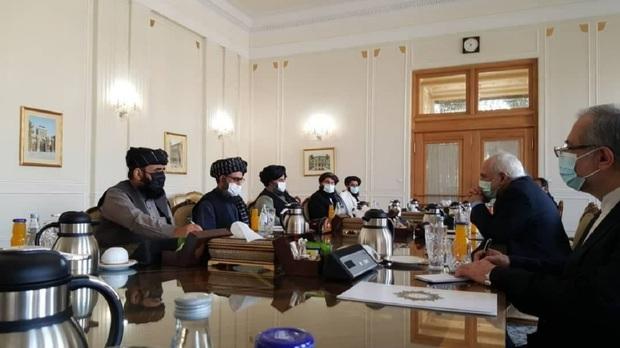 دیدار و گفت و گوی هیئت طالبان با ظریف در تهران