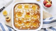 آموزش تصویری تهیه کیک زردآلو با میوه تازه