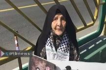 حضور خانم 100 ساله تهرانی در راهپیمایی روز قدس