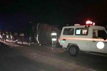 واژگونی اتوبوس درمحور سمنان- دامغان یک کشته و 6 مجروح داشت