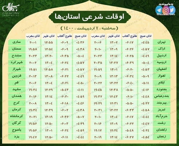 اوقات شرعی استان ها؛ سه شنبه 7 اردیبهشت 1400
