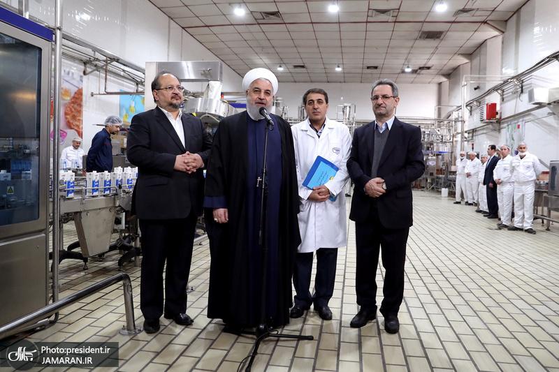 بازدید رئیس جمهور از مجموعه تولیدی شرکت صنایع شیر ایران