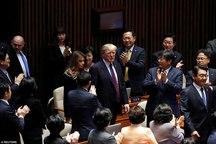 ترامپ و همسرش در پارلمان کره+ تصاویر