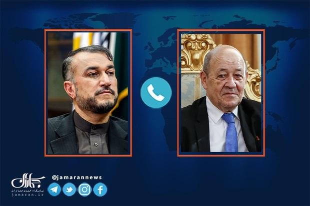 امیرعبداللهیان خطاب به وزیر خارجه فرانسه: آمریکا بداند ما تسلیم فشارها نخواهیم شد