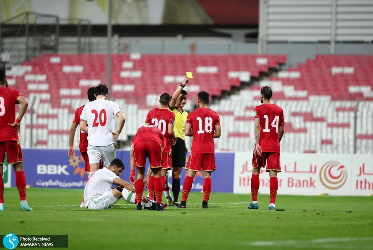 اشتباه داور چینی؛ بازیکن بحرین باید اخراج می شد +ویدیو