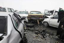 تصادف زنجیره ای 6 خودرو در همدان