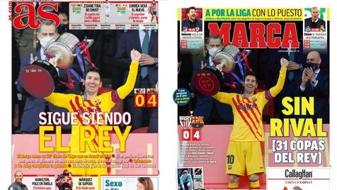 واکنش رسانه های مادریدی به قهرمانی بارسلونا+ عکس