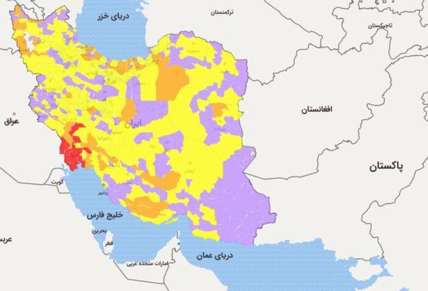اسامی استان ها و شهرستان های در وضعیت قرمز و نارنجی / شنبه 2 اسفند 99