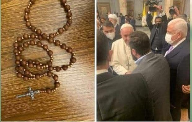هدیه ویژه پاپ فرانسیس به یک فرمانده حشدالشعبی + عکس