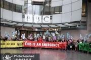 عکس/ معترضان ورودی بی بی سی را بستند