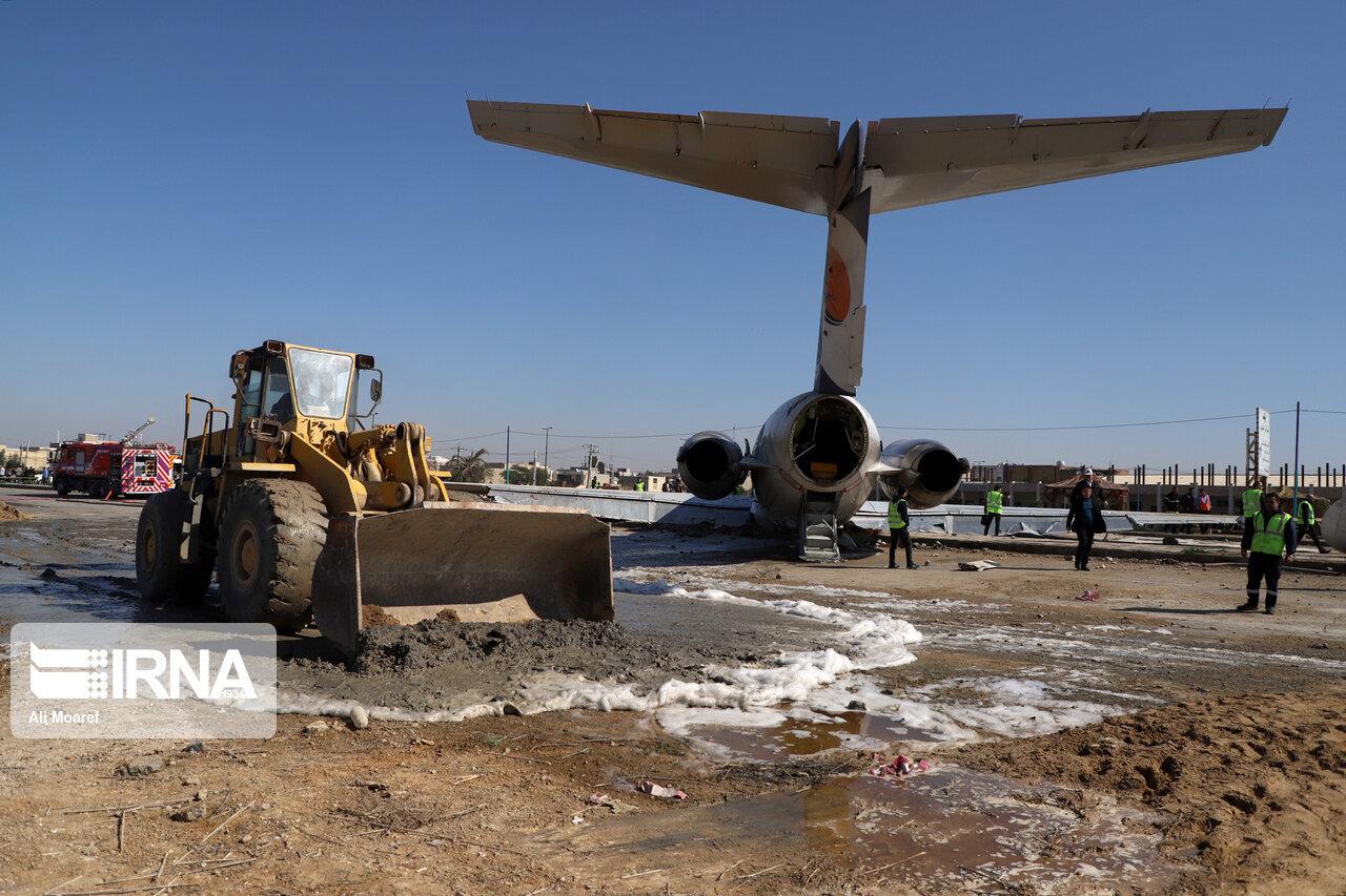 جابهجایی هواپیمای خارج شده از باند فرودگاه ماهشهر آغاز شد