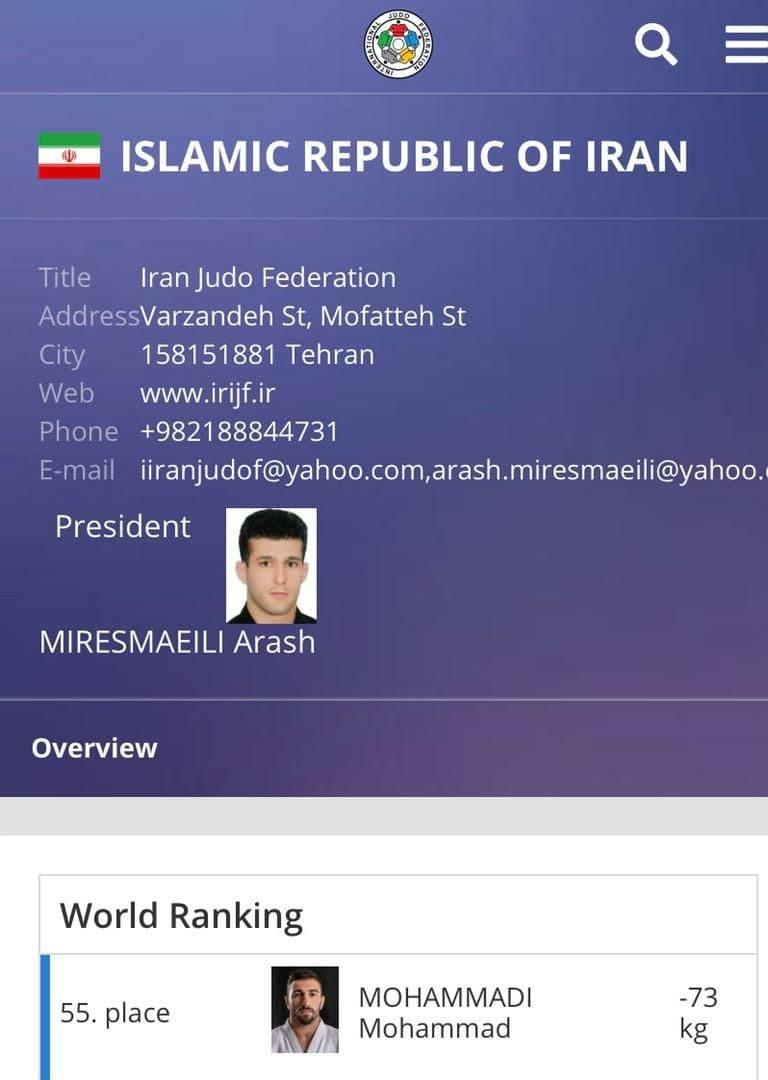 """حذف""""تعلیق"""" از جلوی نام ایران در سایت فدراسیون جهانی جودو+ عکس"""