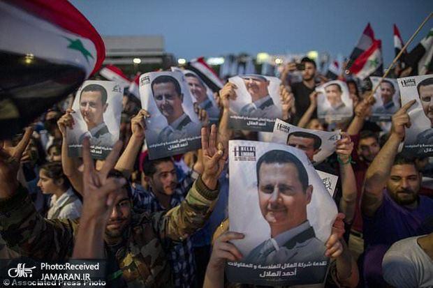 جشن و شادی پس از پیروزی بشار اسد+ تصاویر